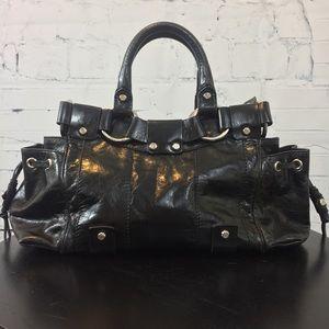Francesco Biasia Blk Distressed Leather Bag